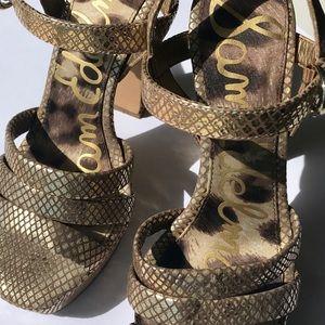 NWT SAM EDELMAN WOMENS sz 6 Gold Leather Platform